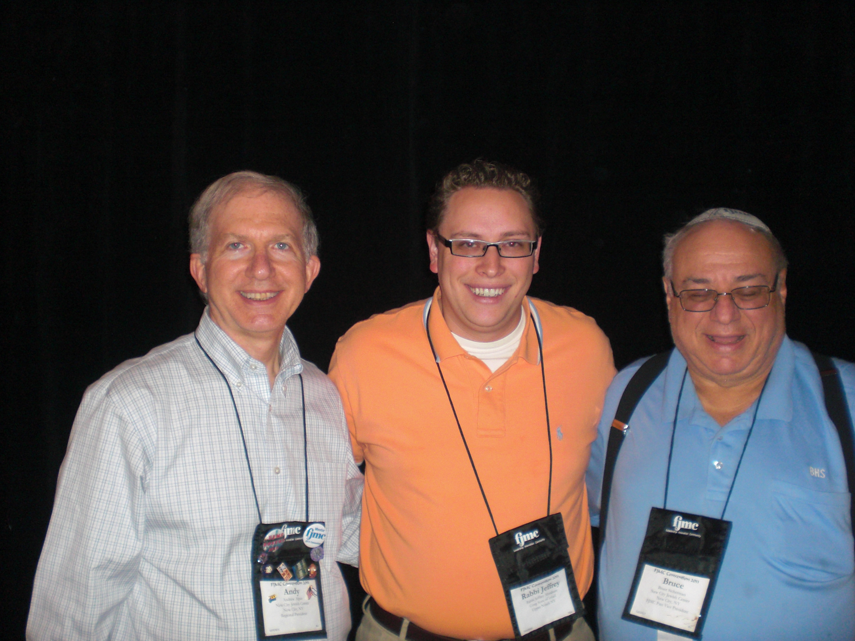 Andy Alper, Rabbi Jeffrey Abraham, and Bruce Sicherman.